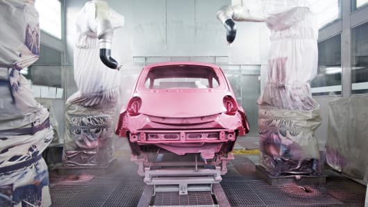 A car manufacturing plant in China.