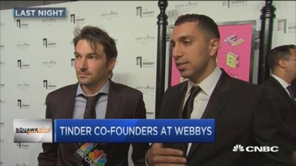 Tinder co-founders at Webbys