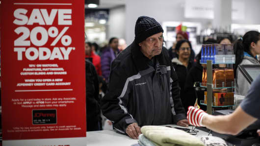 People shop at the JCPenney store at the Newport Mall in Jersey City, New Jersey.