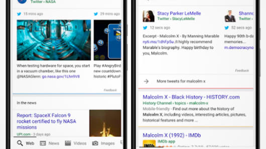 "Whether you're interested in the latest from Taylor Swift, news about the #MadMenFinale, or updates on the NBA playoffs, you'll have access to it directly from Google. Let's use NASA as an example—just ask the Google app about ""NASA Twitter,"" and in the search results, you'll see Tweets from @NASA (L),. Or if you heard today was Malcolm X's birthday, you can ask the Google app and see what various people and organizations in the Twitter community are saying about it. (R)."