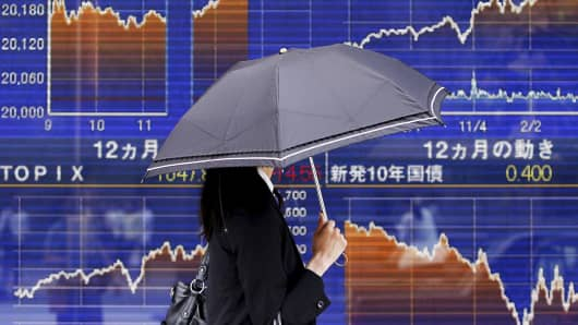 A pedestrian holding an umbrella walks past an electronic board showing prices of Japan's Nikkei average in Tokyo.