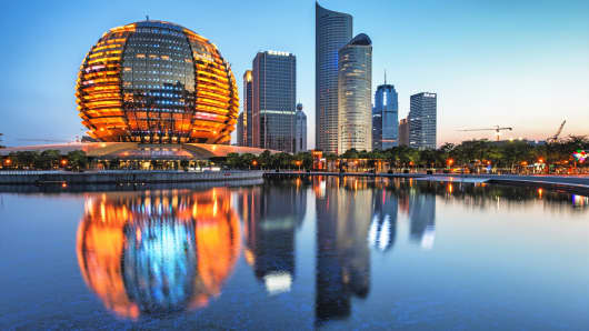 The CBD skyline of Hangzhou, China.