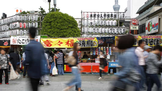 Food stalls near the Sensoji temple in Tokyo, Japan