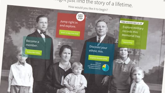 A detail from the ancestry.com home page