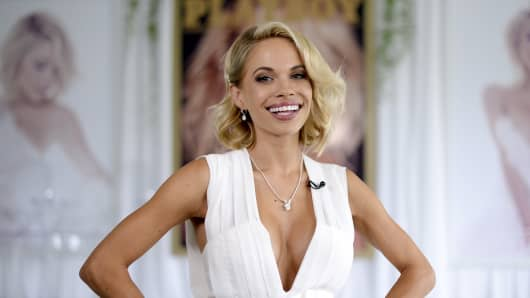 Dani Mathers, the 2015 Playmate of the Year, poses during a luncheon on the garden grounds of the Playboy Mansion in Los Angeles, May 14, 2015.