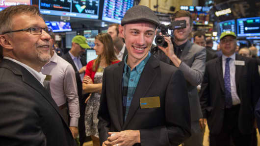 Shopify founder and Chief Executive Officer Tobi Lutke smiles after the company's IPO at the New York Stock Exchange May 21, 2015.
