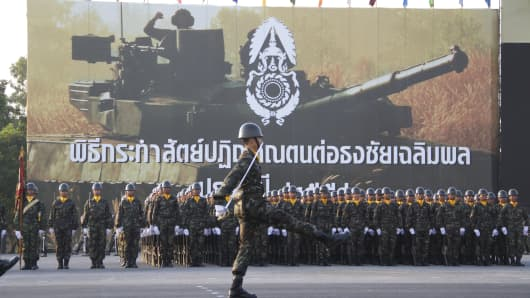 Thai soldiers parade during celebrations of the Royal Thai Armed Forces Day at a military base in Bangkok, Thailand on January 18, 2015
