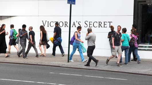 Pedestrians pass in front of a Victoria's Secret store in New York.