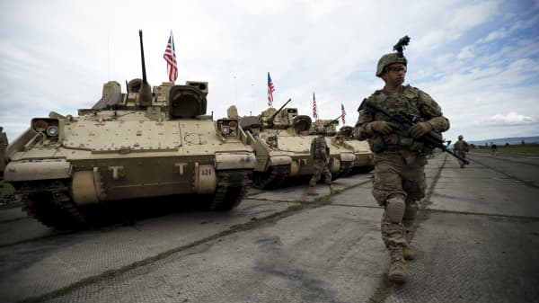 A file photo of the U.S. military in Tbilisi, Georgia.