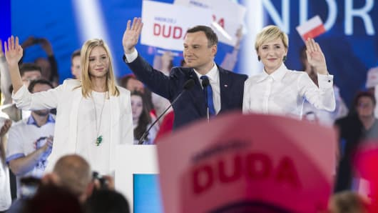 Polish conversative challenger Andrzej Duda speaks to supporters at a press conference as part of his campaign in Warsaw, Poland.