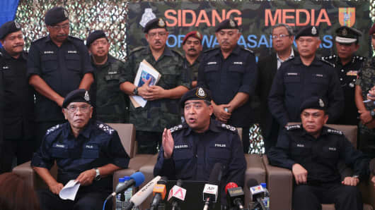 Malaysia Inspector-General of Police Khalid Abu Bakar speaks to the media during press conference announcement of a suspected mass grave site of ethnic Rohingyas between the Malaysia-Thailand borders.
