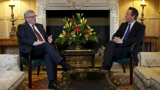 European Commission President Jean-Claude Juncker meets with Britain's Prime Minister David Cameron at Chequers, the Prime Minister's official country residence.