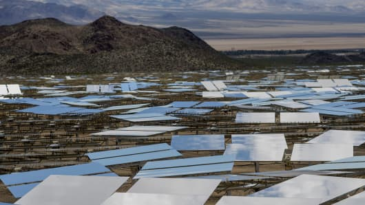 Solar panels at the Ivanpah Solar Electric Generating System in the Mojave Desert near Primm, Nevada.