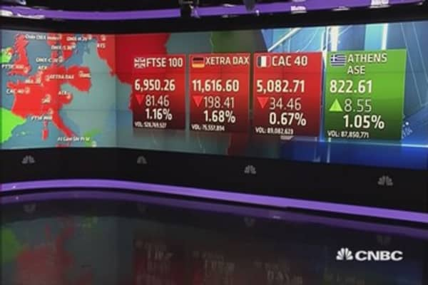 Europe ends lower after mixed US data, Greece crisis looms