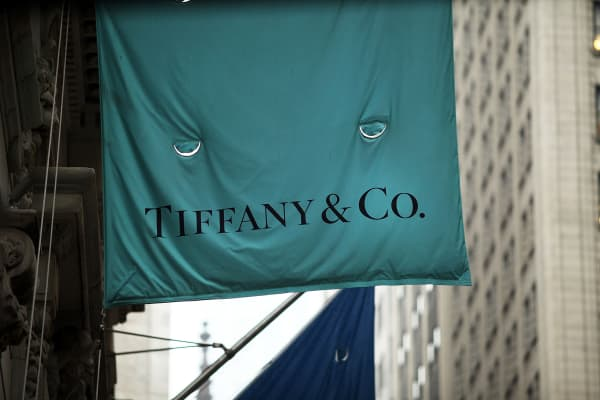 A flag for a Tiffany & Co. store hangs along Wall Street in Manhattan.