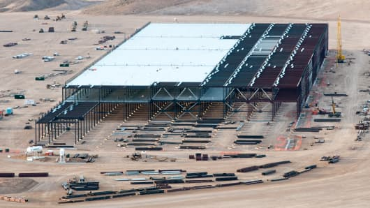Construction on the Tesla Motors Gigafactory east of Reno Nev