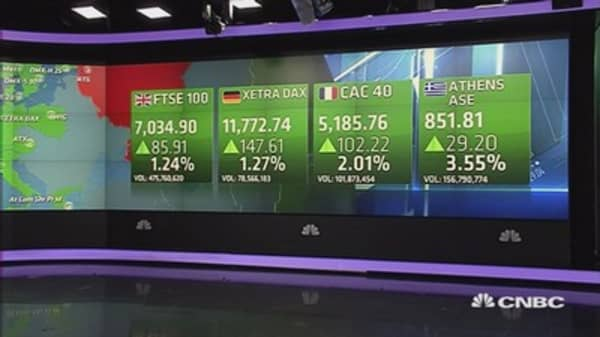 Europe ends sharply higher after hints of tentative Greece deal