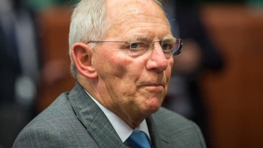German Finance Minister Wolfgang Schauble looks on during a meeting of European finance ministers in Brussels, May 11, 2015.