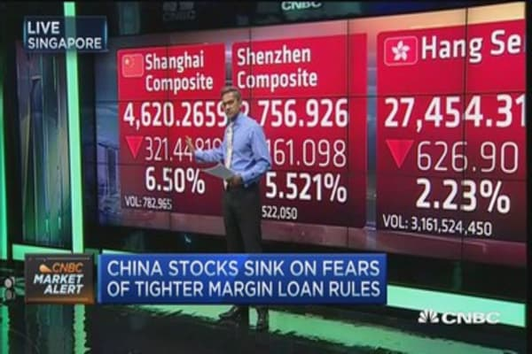 China stocks plunge, Shanghai Comp sheds 6.5% in selloff
