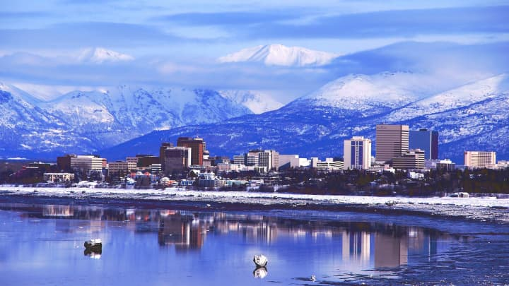 Anchorage Alaska downtown skyline.