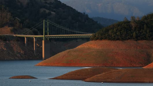 Low water levels are visible at Lake Oroville near the Bidwell Bar Bridge on May 7, 2015 in Oroville, Calif.