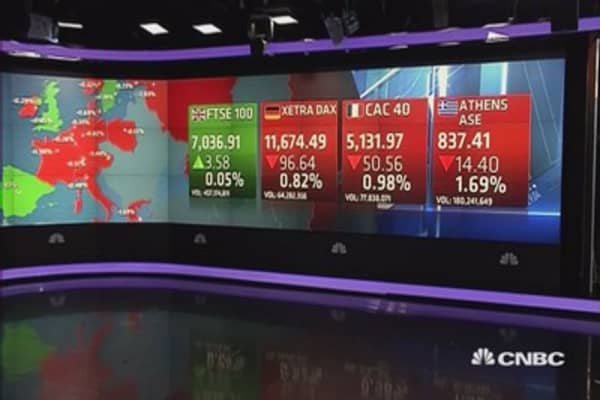 Europe shares close mostly lower; Greek hopes fade