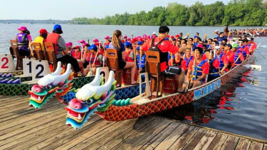 Dragon boat race at the World Police and Fire Games.