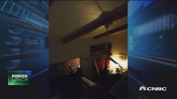 Flood water rips through Texas living room