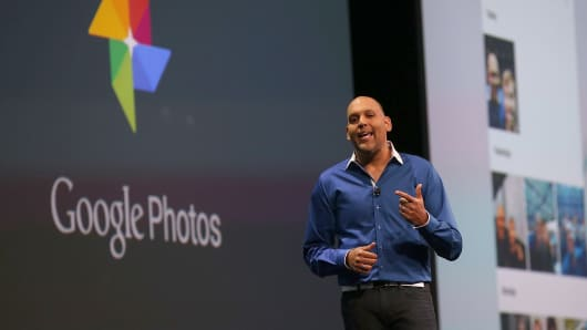 Google Photos director Anil Sabharwal announces Google Photos during the 2015 Google I/O conference on May 28, 2015, in San Francisco.
