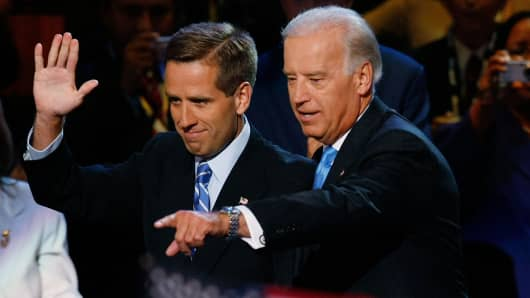 Vice President Joe Biden (D-DE) (R) with his son Beau Biden in 2008.