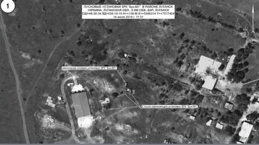 Satellite images delivered to the press by Russian Defense Ministry.