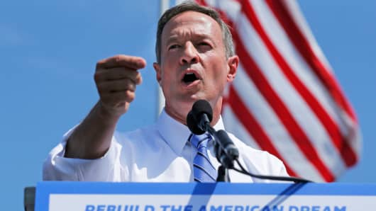 Former Maryland Governor Martin O'Malley announces his intention to seek the Democratic presidential nomination in Baltimore, May 30, 2015.