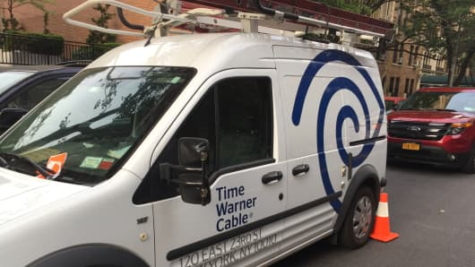 A Time Warner Cable truck in New York City.