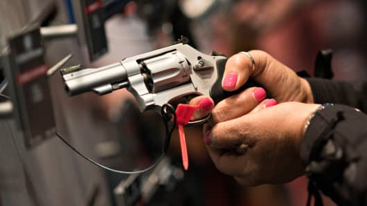 A hand gun in the Smith & Wesson booth at 144th National Rifle Association (NRA) Annual Meetings and Exhibits in Nashville, Tennessee, last April.