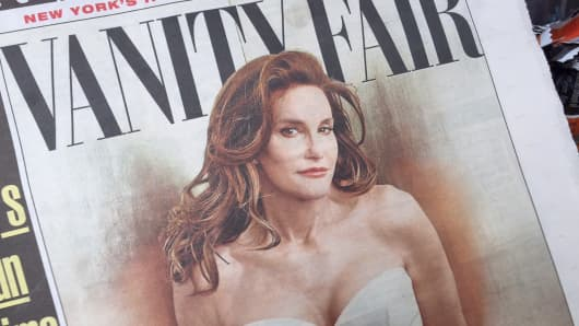 The cover of the New York Post showing Vanity Fair magazine with Caitlyn Jenner