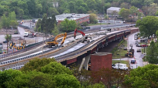 The Casey Overpass undergoes its second day of demolition, on Tuesday, May 19, 2015.