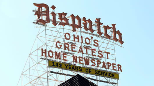 Sign for the Columbus Dispatch, atop their building in Columbus, Ohio.