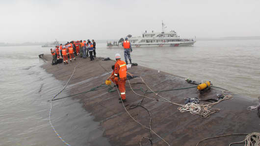 Rescuers search for survivors from the capsized ship in the Yangtze River.