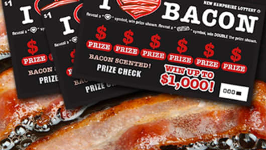 New Hampshire bacon-scented lottery tickets.