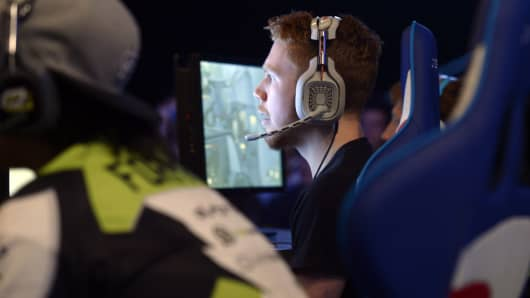 Competitors play Call of Duty Advanced Warfare during the ESWC (Electronic Sports World Cup) on May 2, 2015 in Paris.