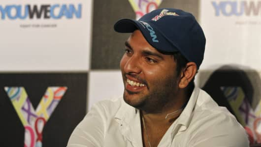 Indian Cricketer and cancer survivor Yuvraj Singh at a YouWeCan event.