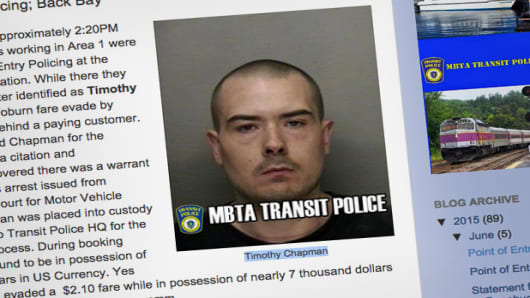 Timothy Chapman as he appeared on the MBTA Transit Police blog