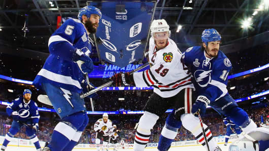 Chicago Blackhawks against the Tampa Bay Lightning during Game Two of the 2015 NHL Stanley Cup Final June 6, 2015 in Tampa, Florida.