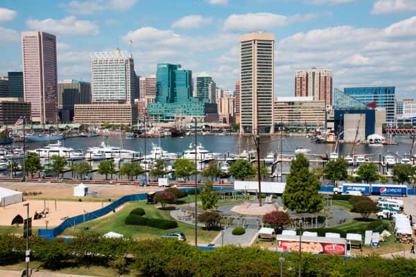 Skyline and Inner Harbor, Baltimore, Maryland.