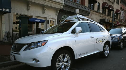 Googles Lexus RX 450H Self Driving Car is seen parked on Pennsylvania Ave. on April 23, 2014 in Washington, DC.