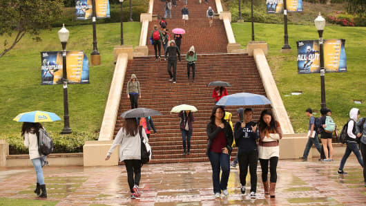 UCLA campus on May 14, 2015 as California students at the University of California are getting a two-year reprieve from threatened tuition increases as a result of a large infusion of new state funds to the 10-campus university system in Gov. Jerry Brown's proposed spending plan.