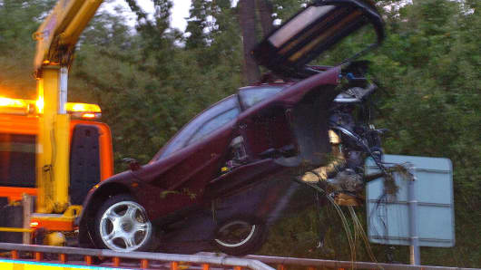 Rowan Atkinson's McLaren F1 crash in 2011