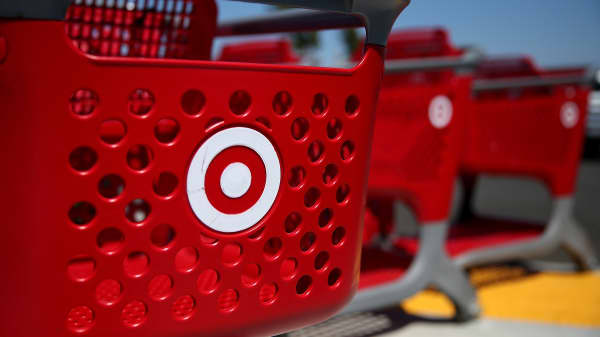 Shopping carts sit in front of a Target store in San Rafael, California.