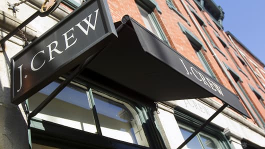 A J. Crew sign is displayed outside one of company's stores in New York.