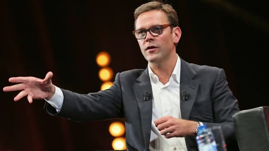 21st Century Fox co-COO James Murdoch attends a Keynote during MIPCOM at the Palais des Festivals in Cannes, France, Oct. 13, 2014.